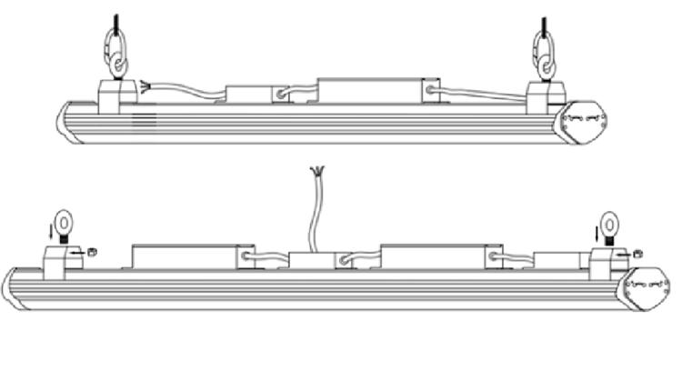 led linear high bay installation -suspended