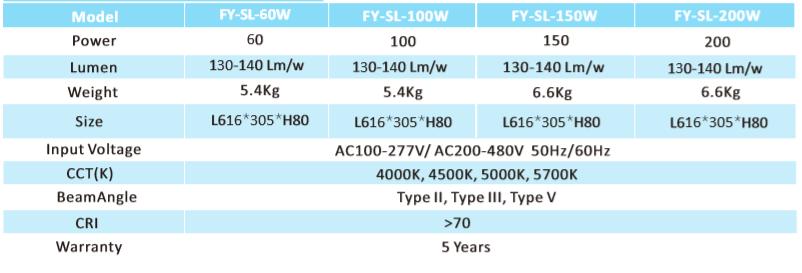 Tecnnical Parameters - LED Shoebox