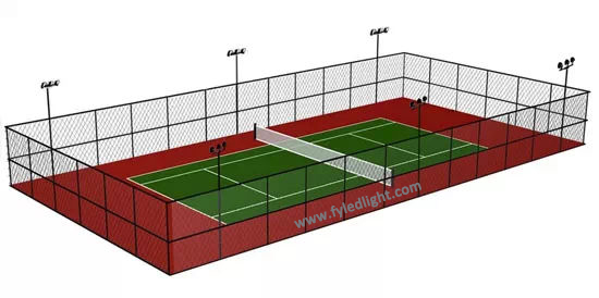 Cost-effective outdoor tennis court lighting
